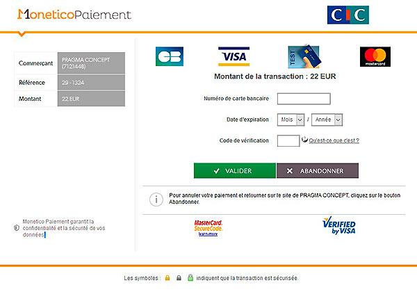 paiement sécurisé Monetico CIC
